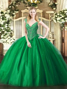 Green Quinceanera Gowns Military Ball and Sweet 16 and Quinceanera with Beading V-neck Sleeveless Lace Up
