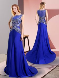 Dynamic Floor Length Side Zipper Prom Dress Royal Blue for Prom and Party with Beading Sweep Train