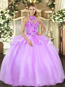 Embroidery Quinceanera Dresses Lilac Lace Up Sleeveless Floor Length