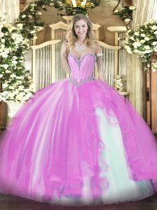 Lilac Ball Gowns Tulle Sweetheart Sleeveless Beading and Ruffles Floor Length Lace Up 15th Birthday Dress