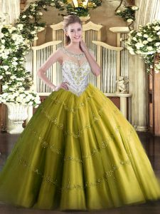 Super Ball Gowns Ball Gown Prom Dress Olive Green Scoop Tulle Sleeveless Floor Length Zipper