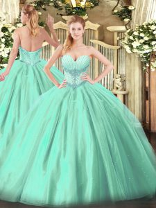 Suitable Turquoise Sleeveless Tulle Lace Up Quinceanera Gowns for Military Ball and Sweet 16 and Quinceanera