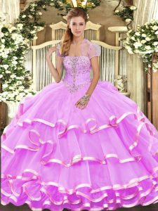 Sleeveless Lace Up Floor Length Appliques and Ruffled Layers Ball Gown Prom Dress