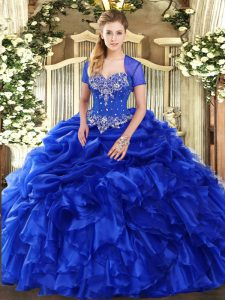 Cheap Sweetheart Sleeveless Organza Quinceanera Gowns Beading and Ruffles and Pick Ups Lace Up