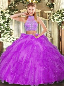 Modern Sleeveless Tulle Floor Length Criss Cross Quince Ball Gowns in Fuchsia with Beading and Ruffles