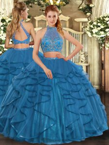 Attractive Halter Top Sleeveless Criss Cross 15th Birthday Dress Teal Tulle