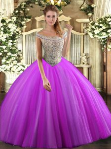 Nice Fuchsia Sleeveless Floor Length Beading Lace Up Quinceanera Gowns