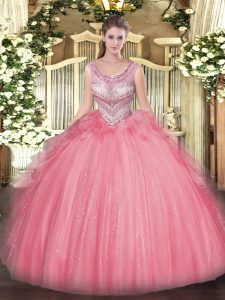 Popular Watermelon Red Ball Gowns Beading and Ruffles Quinceanera Gowns Lace Up Tulle Sleeveless Floor Length