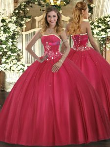Elegant Beading Quinceanera Dress Red Lace Up Sleeveless Floor Length