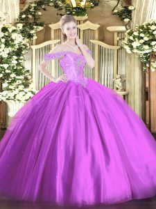 Customized Tulle Off The Shoulder Sleeveless Lace Up Beading Party Dress Wholesale in Lilac