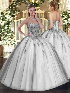 Sweetheart Sleeveless Tulle Quinceanera Gown Beading and Appliques Lace Up