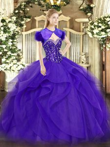 Floor Length Ball Gowns Sleeveless Purple Sweet 16 Dress Lace Up
