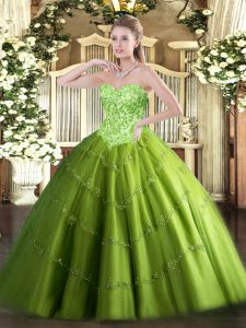 Captivating Floor Length Sweet 16 Dress Tulle Sleeveless Appliques