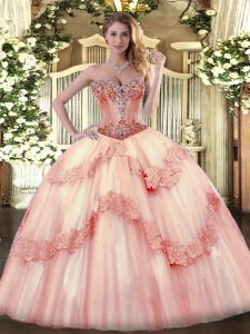 Captivating Tulle Sweetheart Sleeveless Lace Up Beading and Appliques Quinceanera Gown in Baby Pink