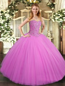 Fabulous Floor Length Lace Up Ball Gown Prom Dress Lilac for Military Ball and Sweet 16 and Quinceanera with Beading