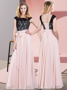 Romantic Baby Pink Empire Chiffon Scoop Sleeveless Lace and Belt Floor Length Lace Up Dress for Prom