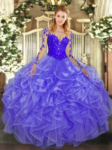 Fitting Floor Length Ball Gowns Long Sleeves Lavender Teens Party Dress Lace Up