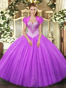 Lilac Ball Gowns Sweetheart Sleeveless Tulle Floor Length Lace Up Beading Ball Gown Prom Dress