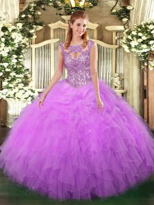 Beauteous Lilac Lace Up 15 Quinceanera Dress Beading and Ruffles Sleeveless Floor Length