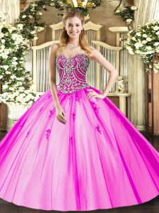 Pretty Ball Gowns Ball Gown Prom Dress Lilac Sweetheart Tulle Sleeveless Floor Length Lace Up