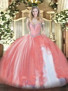 Chic Coral Red Tulle Lace Up Sweetheart Sleeveless Floor Length Quinceanera Gowns Beading and Ruffles