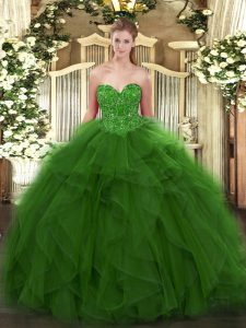 Extravagant Green Tulle Lace Up Ball Gown Prom Dress Sleeveless Floor Length Beading