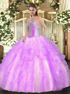 Traditional Lilac Lace Up Ball Gown Prom Dress Beading and Ruffles Sleeveless Floor Length