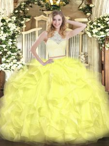 Yellow Sleeveless Lace and Ruffles Floor Length Party Dress for Girls