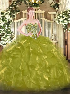 Ball Gowns Sweet 16 Quinceanera Dress Olive Green Sweetheart Organza Sleeveless Floor Length Lace Up
