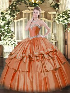 Charming Organza Sweetheart Sleeveless Lace Up Beading and Ruffled Layers Quinceanera Dress in Rust Red
