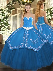 Appliques and Embroidery Quince Ball Gowns Blue Lace Up Sleeveless Floor Length