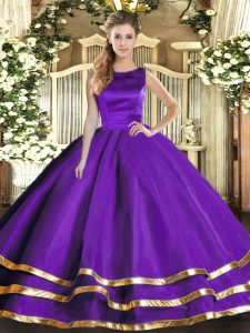 Dramatic Purple Ball Gowns Scoop Sleeveless Tulle Floor Length Lace Up Ruffled Layers Quinceanera Gown
