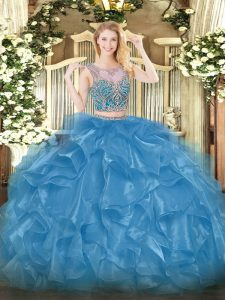 Baby Blue Two Pieces Organza Scoop Sleeveless Beading and Ruffles Floor Length Lace Up Quinceanera Gown