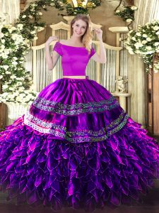 Cheap Short Sleeves Organza and Taffeta Floor Length Zipper 15 Quinceanera Dress in Eggplant Purple with Embroidery and Ruffles