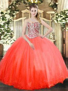 Ball Gowns Sweet 16 Dress Coral Red Sweetheart Tulle Sleeveless Floor Length Lace Up