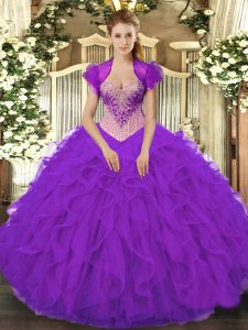 Customized Sleeveless Floor Length Beading and Ruffles Lace Up Quince Ball Gowns with Purple