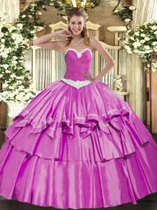 Floor Length Lilac Quinceanera Dress Sweetheart Sleeveless Lace Up
