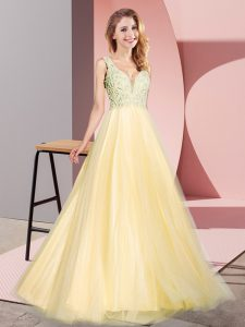 Amazing Lace Gold Zipper Sleeveless Floor Length