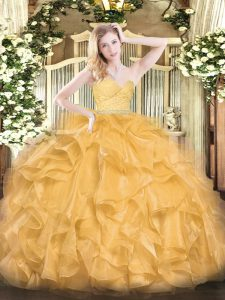 Amazing Sweetheart Sleeveless Zipper Sweet 16 Dress Gold Organza