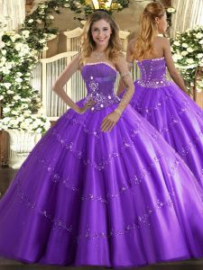 Lavender Sleeveless Tulle Lace Up Quinceanera Dress for Military Ball and Sweet 16 and Quinceanera