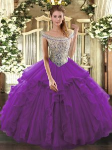 Smart Eggplant Purple Ball Gowns Tulle Off The Shoulder Sleeveless Beading and Ruffles Floor Length Lace Up Quinceanera Gown