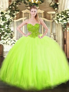Fashion Floor Length Sweet 16 Dresses Organza and Tulle Sleeveless Beading