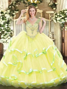 Stunning Yellow Sleeveless Beading and Ruffled Layers Floor Length Sweet 16 Quinceanera Dress