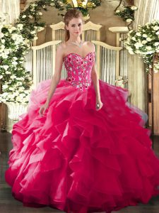 Fitting Embroidery Vestidos de Quinceanera Hot Pink Lace Up Sleeveless Floor Length