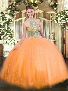 Sumptuous Halter Top Sleeveless Tulle Quinceanera Gown Beading Lace Up