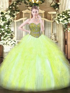 Smart Floor Length Yellow Green Quince Ball Gowns Tulle Sleeveless Beading and Ruffles