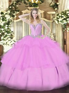 Glorious Floor Length Ball Gowns Sleeveless Lilac Vestidos de Quinceanera Lace Up