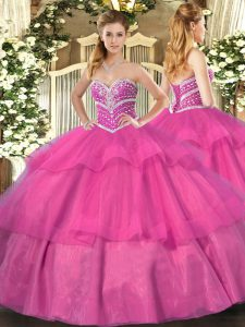 Excellent Floor Length Lace Up Sweet 16 Dress Hot Pink for Military Ball and Sweet 16 and Quinceanera with Beading and Ruffled Layers