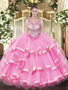 Smart Sleeveless Organza Floor Length Lace Up Quinceanera Gowns in Lilac with Beading and Ruffles