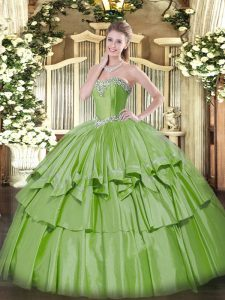 Hot Sale Floor Length Yellow Green Quinceanera Gowns Sweetheart Sleeveless Lace Up